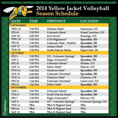 2014 Volleyball Schedule
