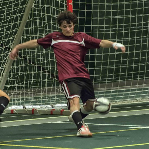 Florindo Mercado makes a save in 19th Annual Spearfish Winter Classic Indoor Soccer Tournament at Black Hills State University's Young Center Feb. 30.