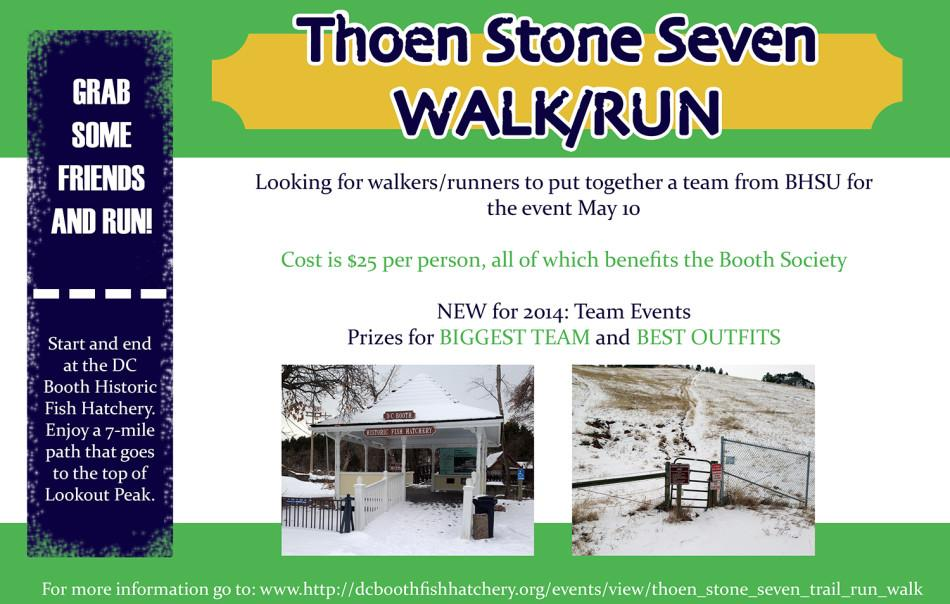 Looking for walkers/runners to put together a team  from BHSU for the event May 10th.