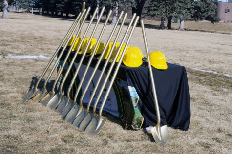Yellow hard hats and gold shovels await to be used for the ground breaking ceromony on Feb 14th for the new resident hall on BHSU campus.