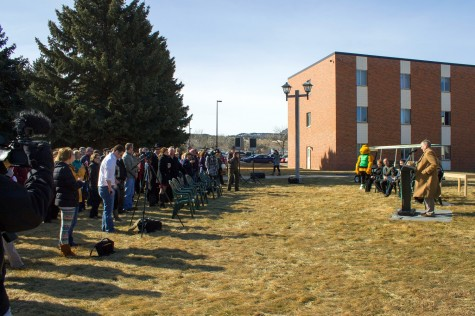 The crowd listens carefully to each speaker that talks during the ground breaking ceremony at BHSU on Feb, 14th.