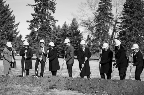 Officials break ground at the new Crow Peak Residence Hall Feb. 14.