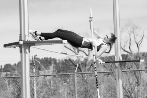 Amy Merchen clears the pole during the Spring Open track meet, March 29, 2014, at Black Hills State University's Lyle Hare Stadium. Merchen finished with a jump of 2.75 meters.