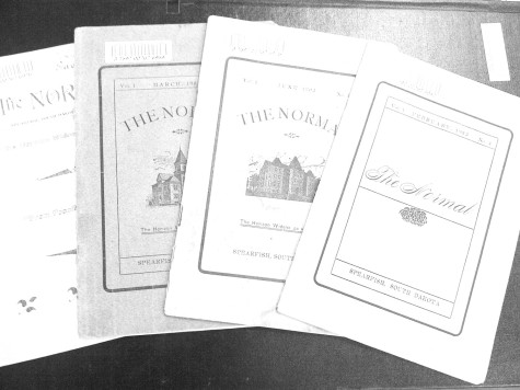 Photos of the cover and inside of the original student newspaper, The Normal.
