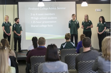 Students in Enactus present their projects to an audience at BHSU's Club Buzz, March 26, 2014 in preparation for their presentation at the Enactus United States National Exposition in Cincinnati, Ohio,  in April 2014. Pictured from left: Sarah Coomees, business administration major ; Jesus Ramos, mass communication major; Justin Bachelor, biology major; Katrina Schrader, business administration major ; and Ann Wilken, business administration major..