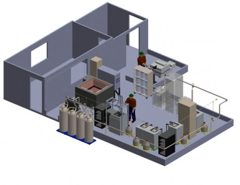 The layout of the interior of the cleanroom will be two separate rooms. Located inside will be different types of instruments to conduct experiments underground.