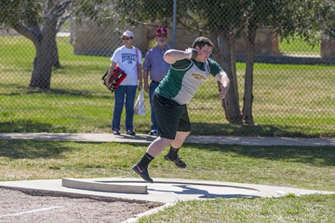 Laketon McLaughlin winds up to throw the shot put during the men's shop put event.