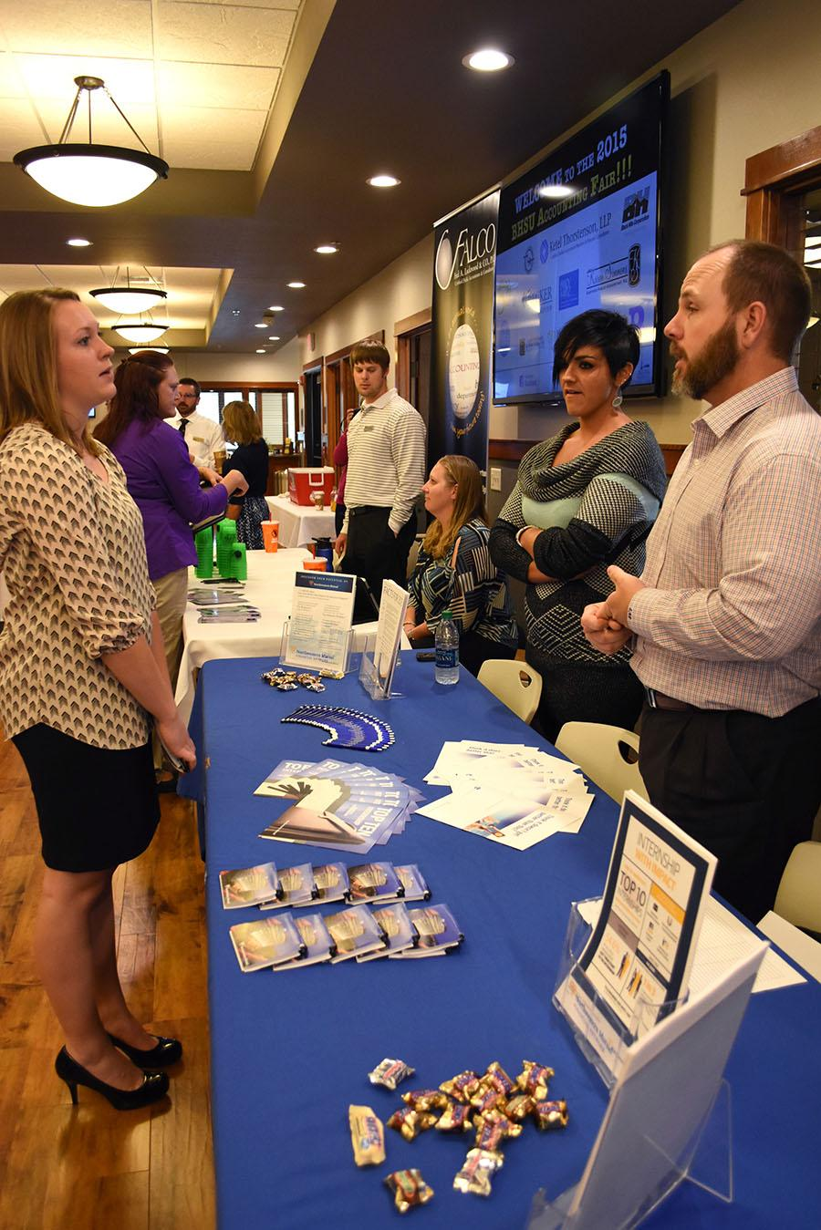 Local business representatives talk to accounting students at the BHSU Accounting Career Fair Sept. 29