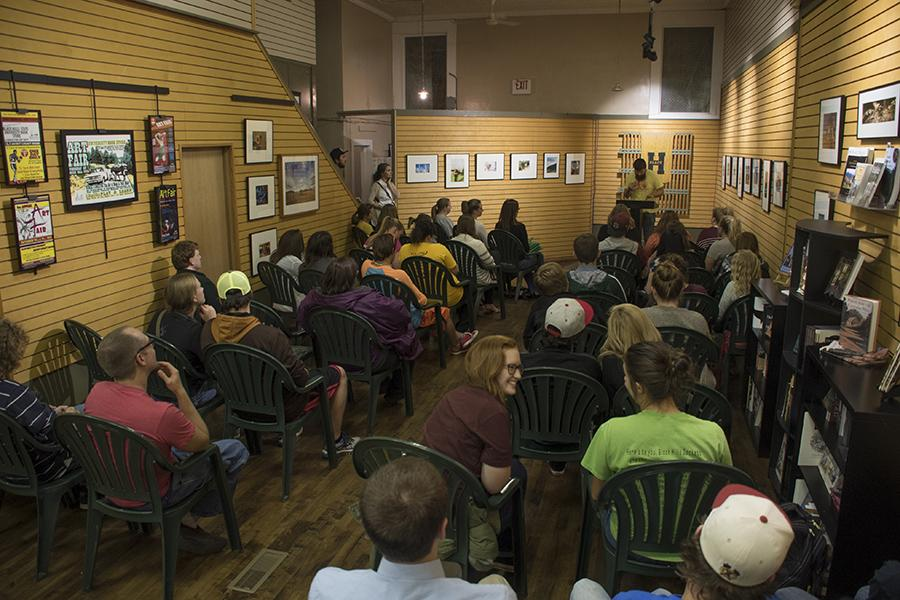 Brady Lint recites his piece of work at the Poetry Slam at the Jacket Zone on Thursday evening in downtown Spearfish.