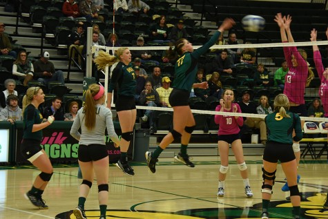 Danille Torpey spikes the volleyball against Fort Lewis. The Yellow Jackets went on to win the series Oct. 23 at the Young Center.