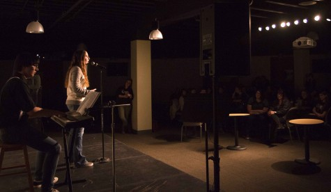 2. Jeremy Brethaver plays the keyboard while Taylor Amiotte sings When We Were Young by Adelle to the crowd at BHSU's open mic night Feb. 4.