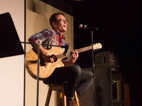 3. Kyle Slater performs I'm Sexy and I know it by LMFAO during BHSU's open mic night Feb. 4.