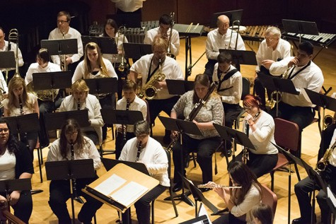 The Black Hills State University Band and members of the Black Hills community play in the Spring Concert April 29 in Meier Hall.