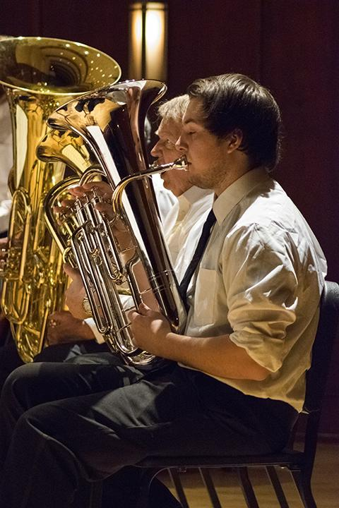 Black Hills State University band member Sean Kassmeier plays his euphonium April 29 during the Spring Concert in Meier Hall.