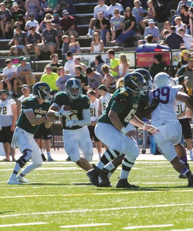 Black Hills State University running back Phydell Paris (#34) breaks through the defense to gain yardage during the game against New Mexico Highlands Cowboys Oct. 1.