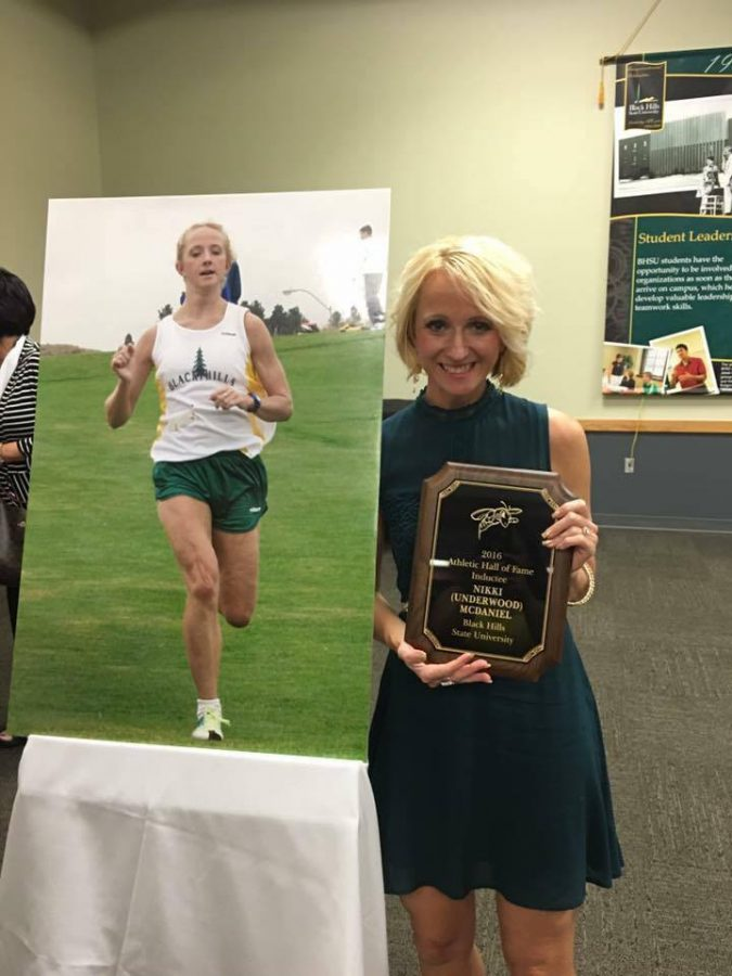 2016 Black Hills State University Athletic Hall of Fame inductee, Nikki McDaniel, accepts her award Sept. 30 in Spearfish