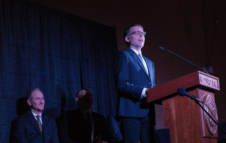 Steve+Babbitt+gives+acceptance+speech+for+outstanding+service+in+arts+education+at+the+governors+Award+February+15+in+Pierre+South+Dakota.