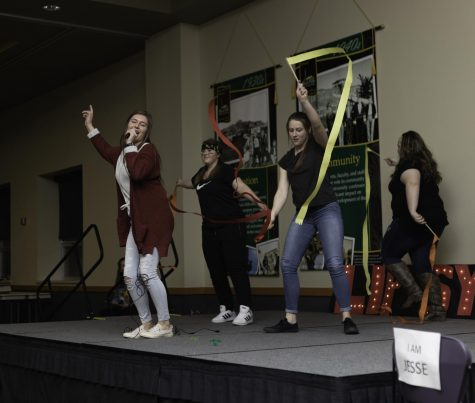 Members of Jacket Pack preform at the Lip Sync Battle in the Jacket Legacy Room on Black Hills State University's campus February 21st. The event was sponsored by BHSU's Campus Activity Board to raise money for the Kenadi Jean Weis Foundation.