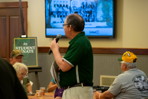 Director of BHSU Alumni Relations Tom Wheaton addresses the reception. The 2019 All-School Reunion was organized by the BHSU Alumni Association.