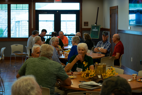 Alumni arrive at the reception hall and take their seats. The Joy Center hosted two breakfast receptions as part of the 2019 All-School Reunion.