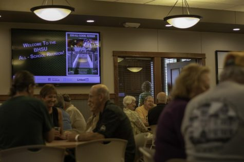 A welcome slideshow plays on a TV in the Joy Center. The Joy Center hosted two breakfast receptions as part of BHSU