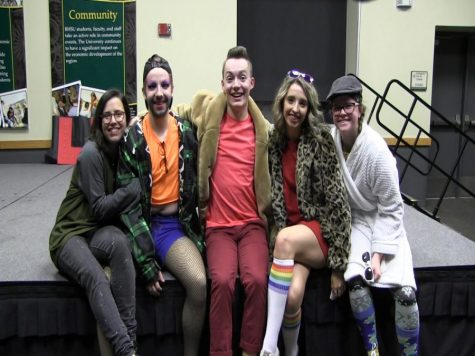 College Democrats and Pride sit onstage at the Lip Sync Battle. The team took first place among among student performers at the competition.