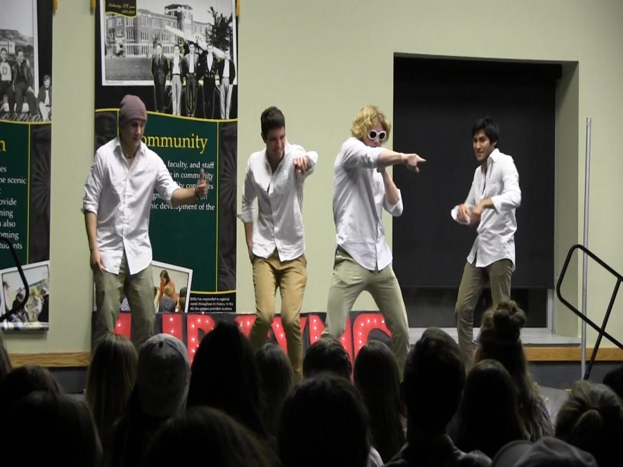 Members+of+Sigma+Tau+Gamma+perform+for+audience+members+at+the+Lip+Sync+Battle.+The+fraternity+was+one+of+several+student+organizations+to+perform+at+the+fundraising+event.
