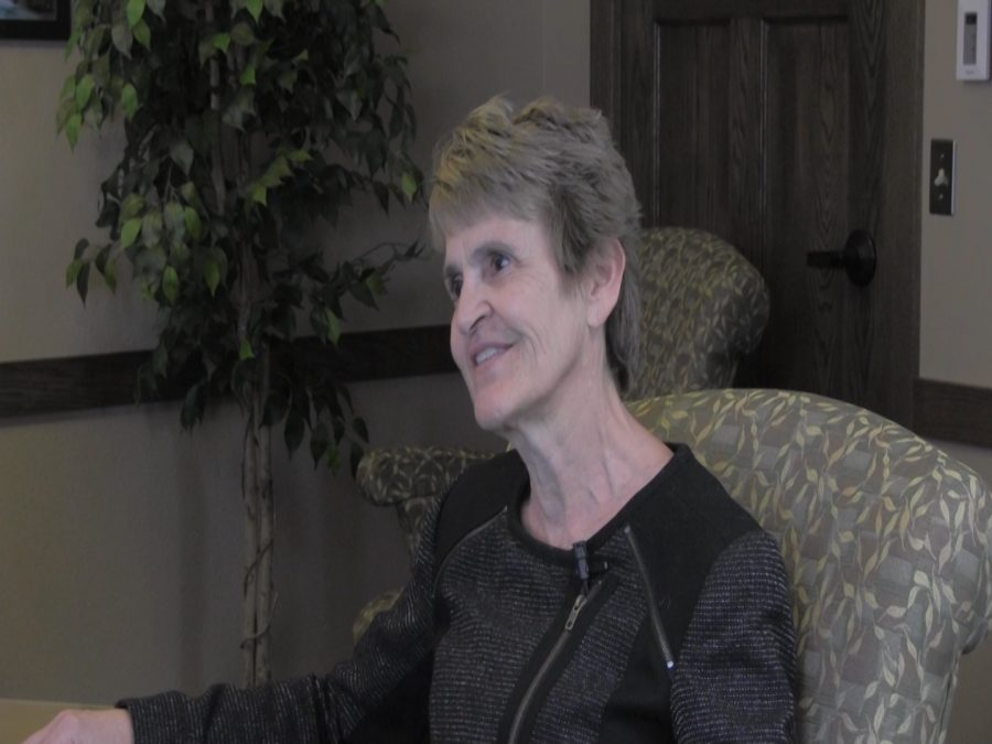 Press interview with Black Hills State University President Dr. Nichols in her office.