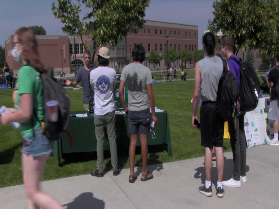 Black Hills State University Students line up to learn about an organization on the campus green. Wednesday, August 26, 2020.